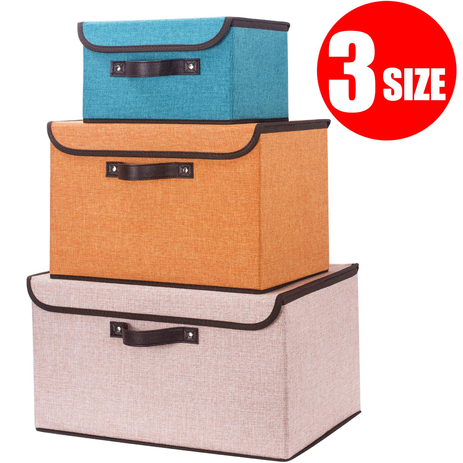 Astounding Senbowe Storage Bins Set Of 3 Size Foldable Storage Cubes Box With Lids And Handles Collapsible Storage Basket Containers Organizer With Linen Creativecarmelina Interior Chair Design Creativecarmelinacom