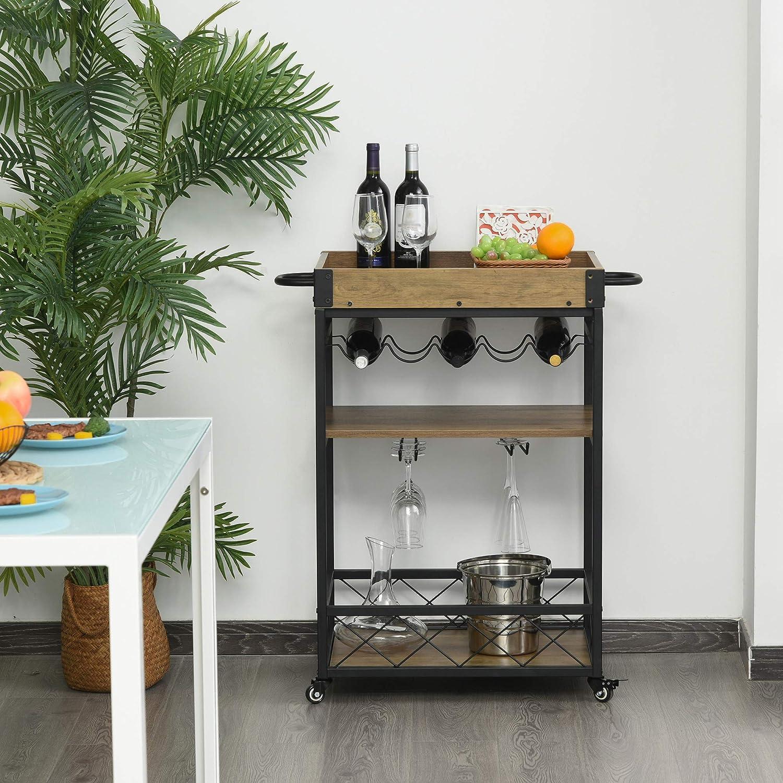 Desserte Vintage style industriel 3 /étag/ères 5 range-bouteilles support verres /à vin m/étal noir imitation bois