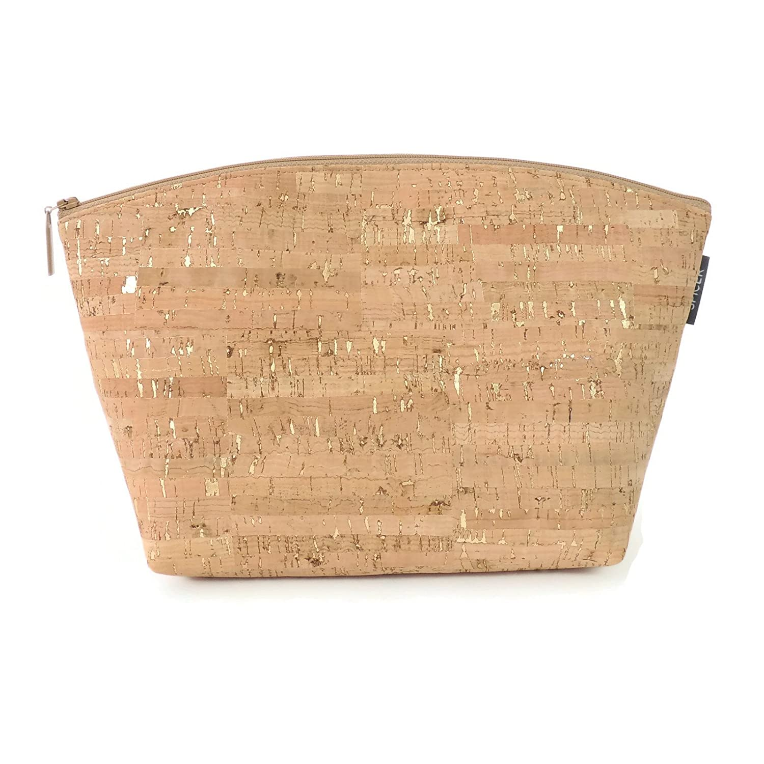 Large Makeup Pouch in Cork with Gold Flecks by Spicer Bags
