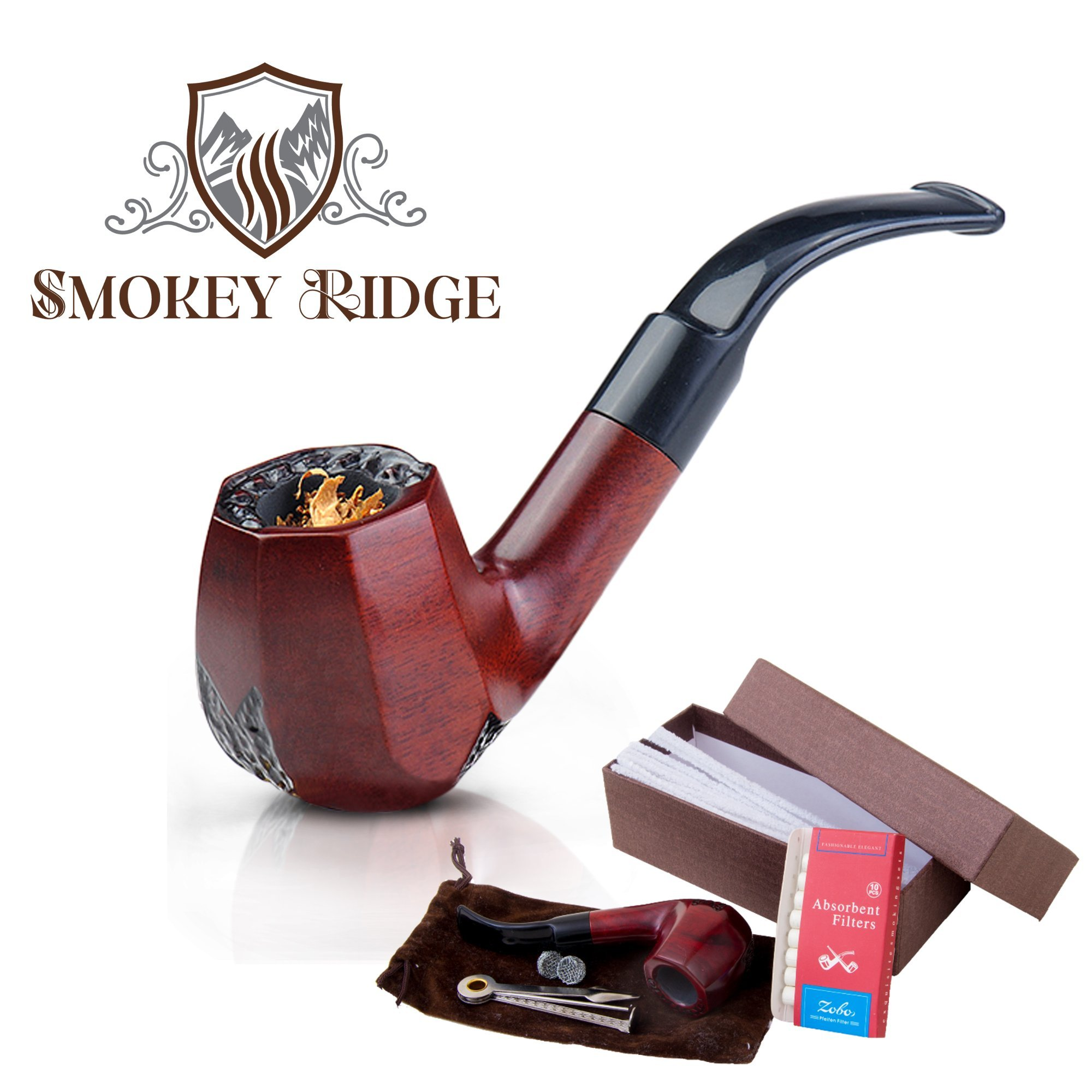 Tobacco Pipe with a Gift Accessories Set. Premium Handcrafted Red Wood Tobacco Smoking Pipe, Perfect Gentleman's Gift of a Vintage Wooden Smoking Pipes for Tobacco-Aurora by Smokey Ridge Tobacco Pipes