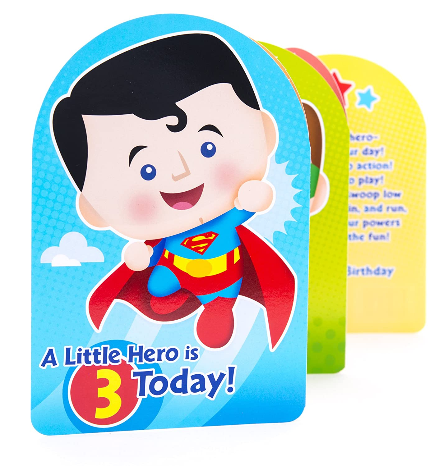 Amazon Hallmark 3rd Birthday Greeting Card For Boy Superman Batman Iron Man Green Lantern Office Products
