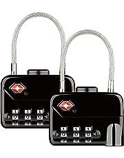 Diyife TSA Luggage Locks, [Upgraded Version][2 Packs] 3-Digit Security Combination Padlocks for Travel Suitcases Bag Case etc.(Black)