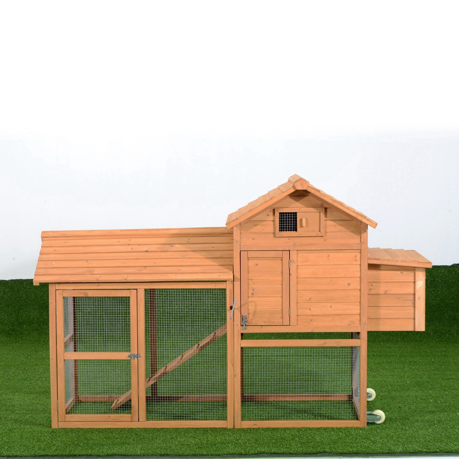 Amazon.com : Pawhut Deluxe Portable Backyard Chicken Coop W/ Fenced Run And  Wheels : Bird Houses : Garden U0026 Outdoor