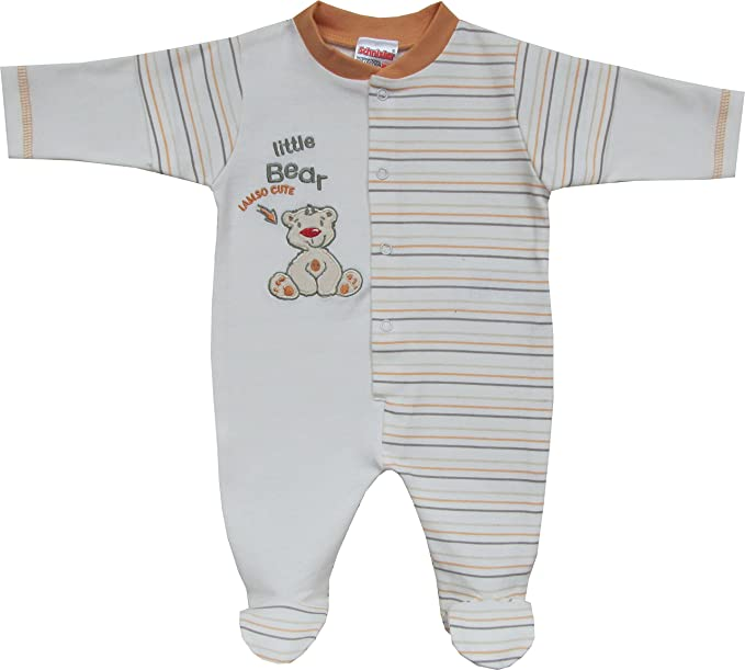 Schnizler Schlafanzug Little Bear - Pijama Unisex bebé, Color Naranja, Talla 68 (Talla