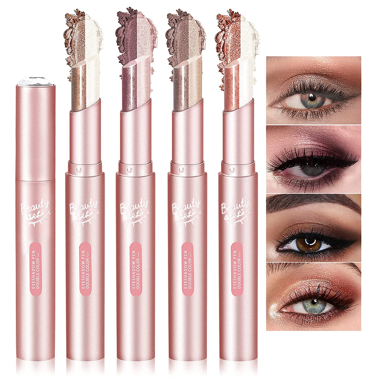 NewBang 4Pcs Eyeshadow Stick,Double Colors Gradient Eyeshadow Stick,Neutral and Brown Cream Eyeshadow,Waterproof Longlasting Shimmer Eyeshadow Stick Set
