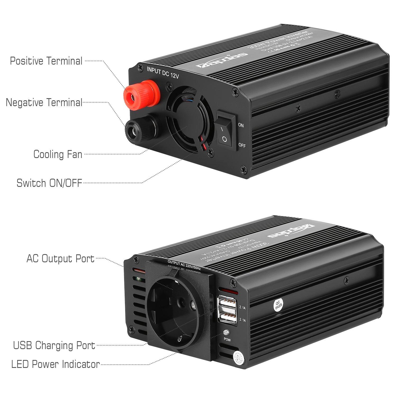 Bapdas 1000W Kfz-Wechselrichter//Spannungswandler DC 12 V auf AC 220-230 V mit 2 AC Buchse und 80cm Kable
