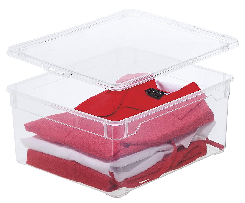 Aufbewahrungsbox Clear Box Small 2 L. von Rotho mit Deckel - QR-Code AppMyBox - 2 L. Volumen - (LxBxH) 19x16.5x9 cm - transparent - stapelbar - Kunststoff/Plastik (PP) - Div. Größen 1708200096