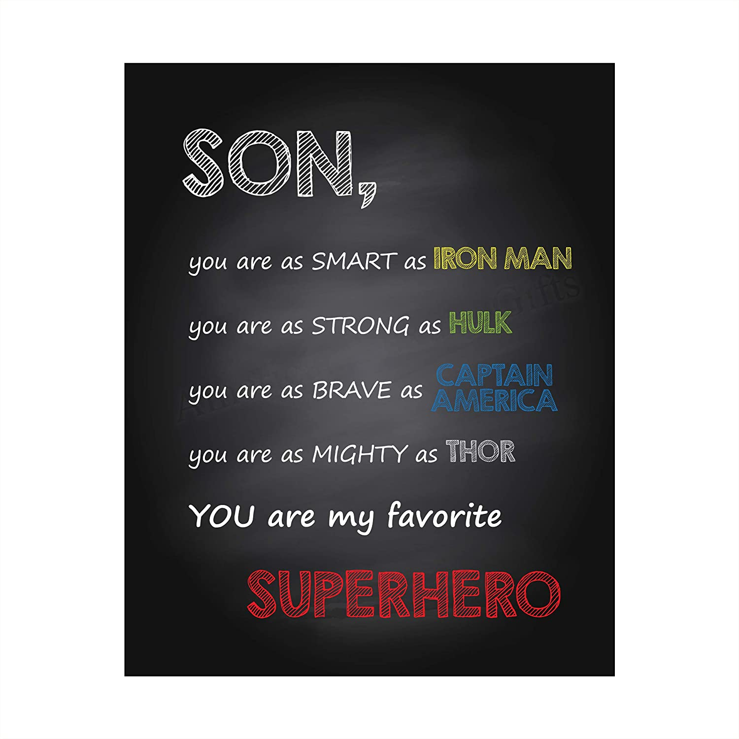 """Son-You Are My Favorite Superhero"" Inspirational Wall Art Sign -8 x 10"" Artistic Typographic Poster Print-Ready to Frame. Perfect Home-Kids Bedroom-Nursery Decor. Great Decoration for Marvel Fans!"