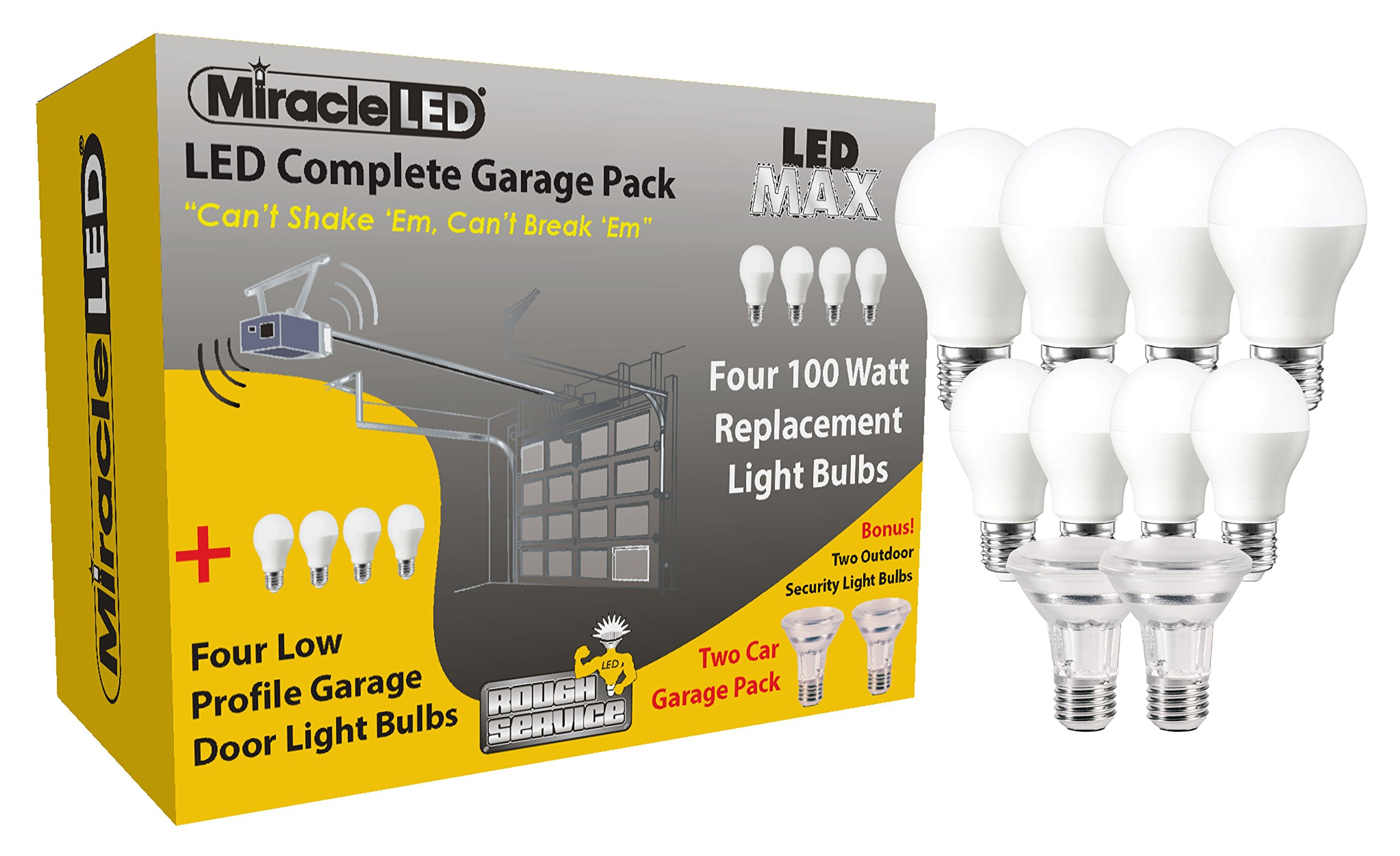 MiracleLED 604239 Rough Service Ultimate LED Two Car Complete Garage Lighting Pack (10 Pack)