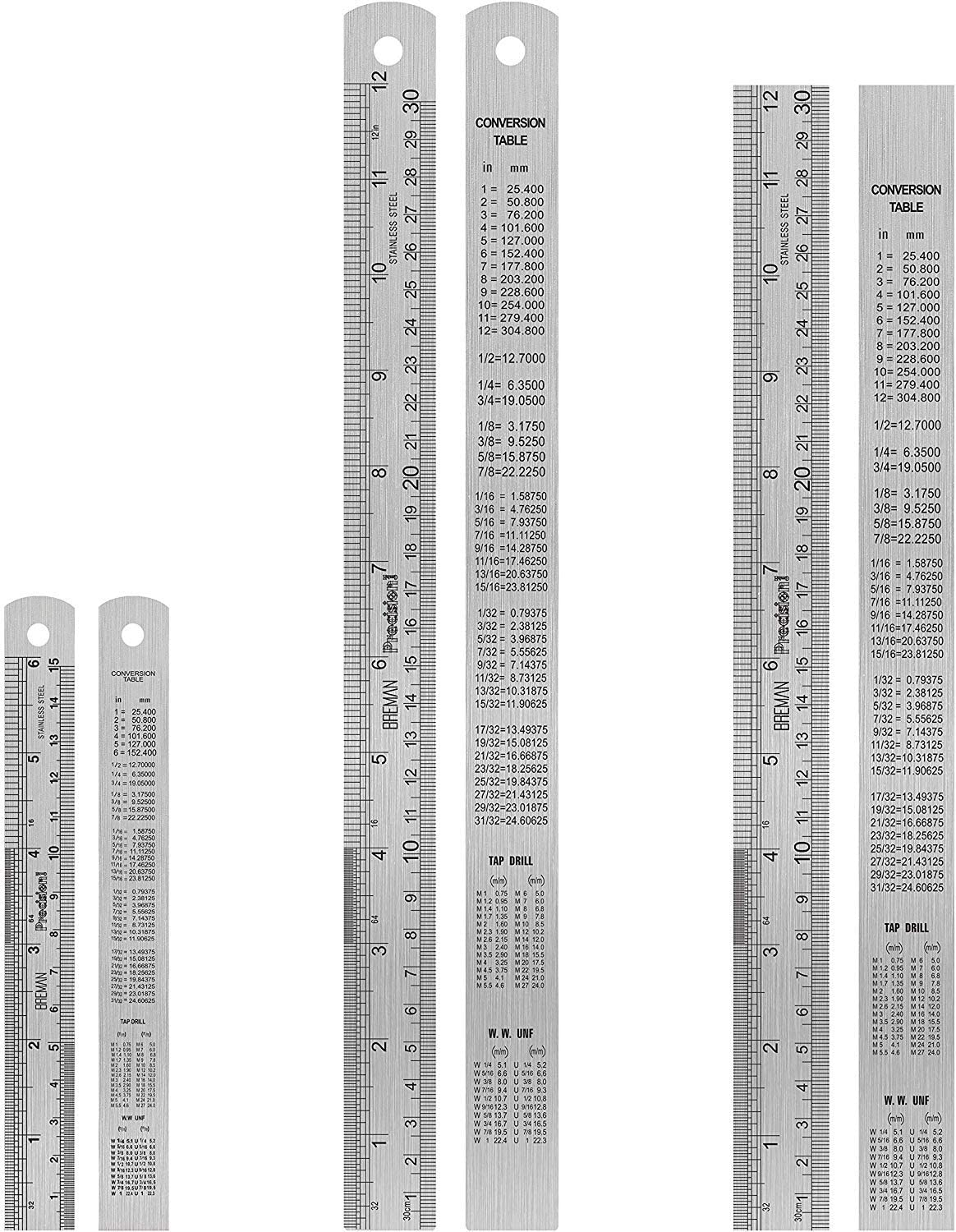 Breman Precision 3 pc Steel Ruler Set - 6 Inch Ruler and 2 pc 12 Inch Stainless Steel Straight Edge Metal Rulers with Inch and Metric Graduation and Handy Conversion Table for School Office and More