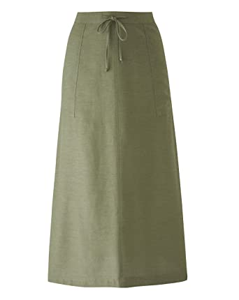 f7805b24e Simply Be Womens Linen Mix Maxi Skirt Khaki Green, 10: Amazon.co.uk ...