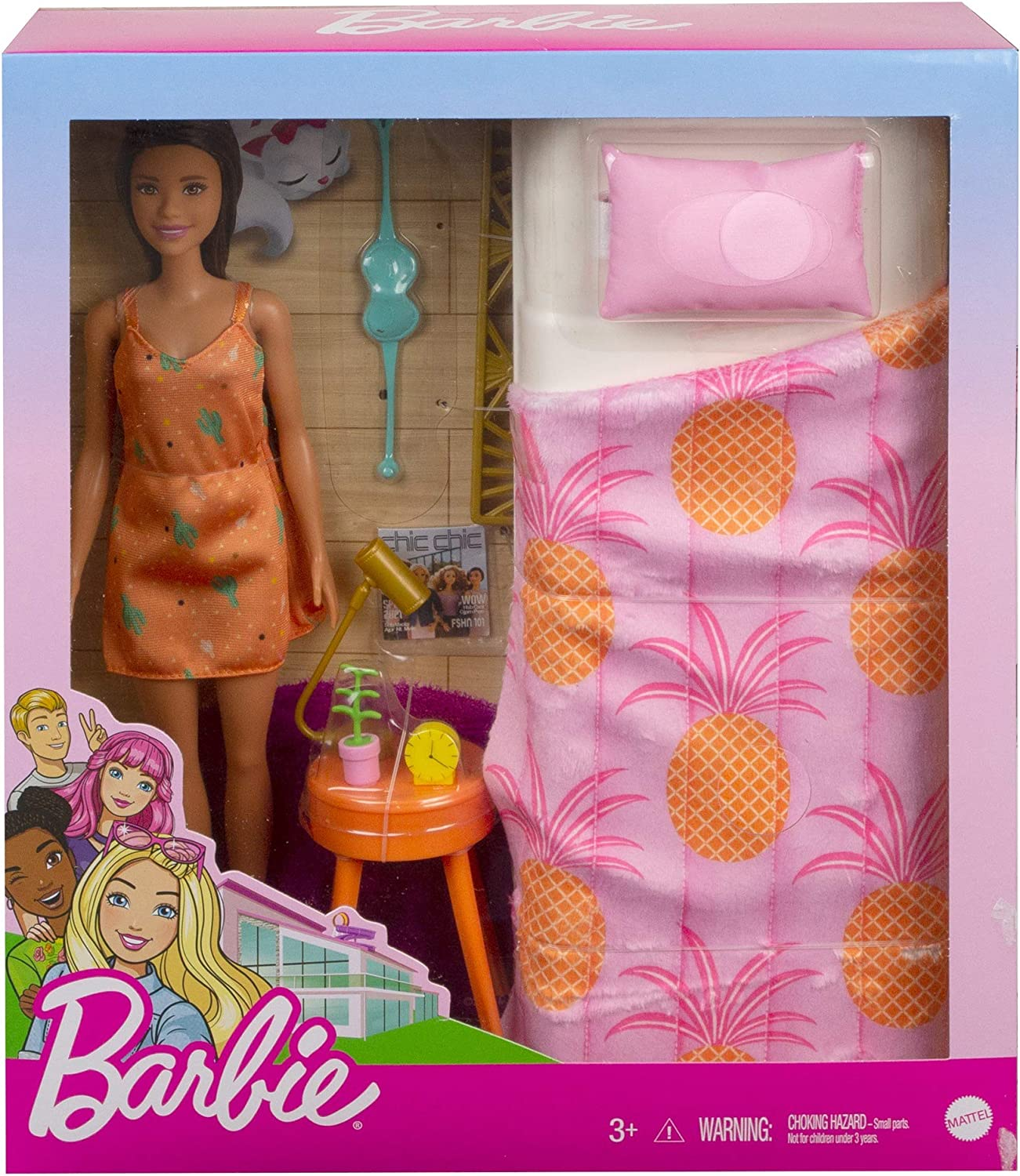 Barbie Doll And Bedroom Playset Indoor Furniture Playset Doll 11 5 Inch Brunette Wearing Pajamas And Accessories Gift For 3 To 7 Year Olds Toys Games Playsets Agtcorp Com