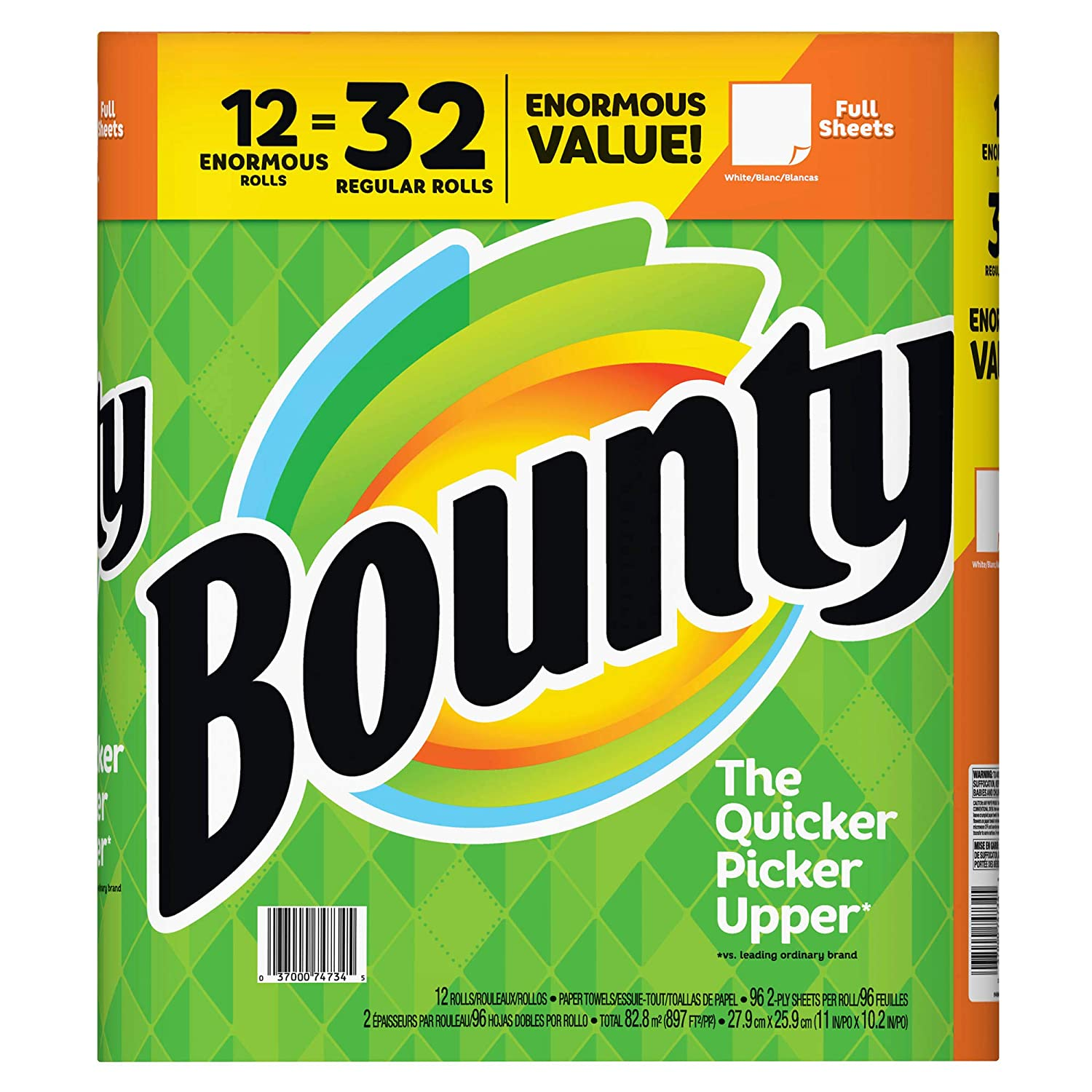 Amazon.com: Bounty Enormous Roll Paper Towels, 12 pk. - White (Pack of 2): Kitchen & Dining