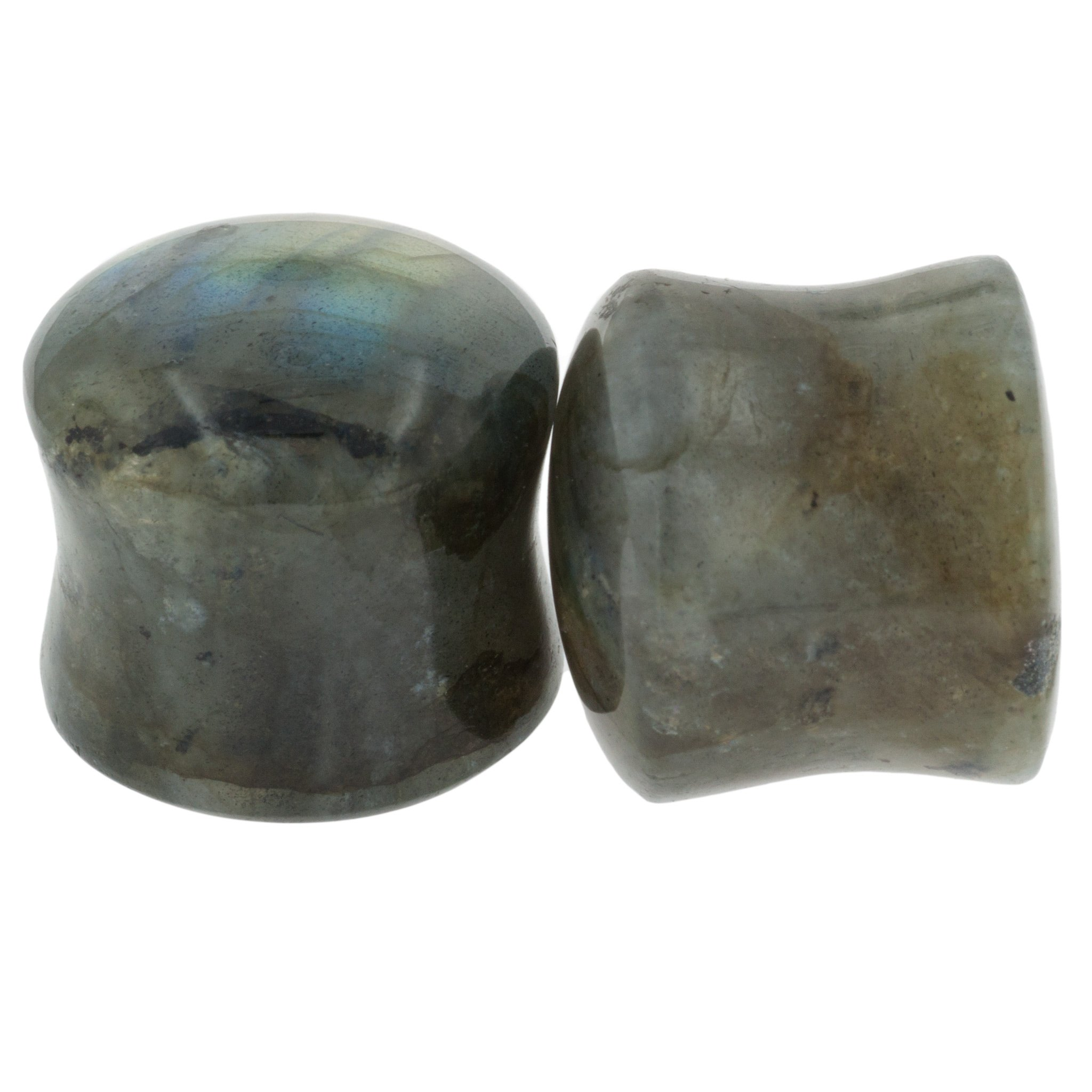 Pair of Labradorite Stone Double Flared Domed/Flat Plugs: 1''