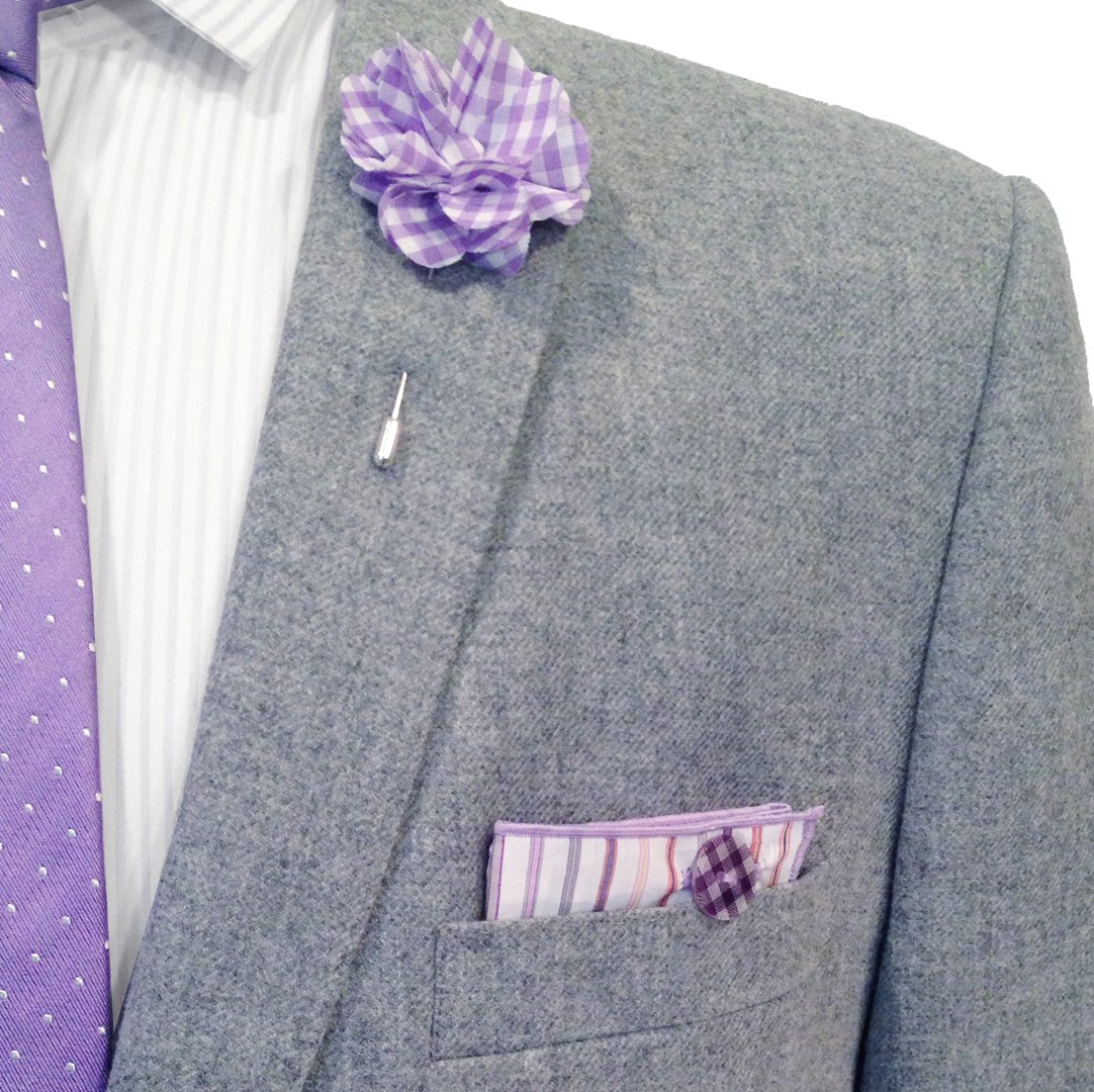 White & Multi Stripe w/Gingham Button Men's Pocket Square by The Detailed Male by The Detailed Male (Image #1)