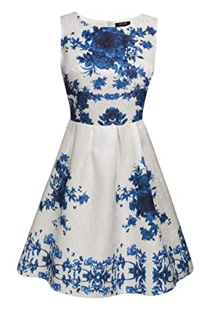 8477df85fc ACEVOG Women's Embroidery A-Line Tunic Cocktail Party Prom Short Dress Blue  M