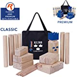 Kubb Game Set Classic or Tournament Size by Rally & Roar - Fun, Interactive Outdoor Family Yard Games - Durable Hardwood Blocks with Travel Bag - for Outside, Lawn, Bars, Backyards–Families, All Ages