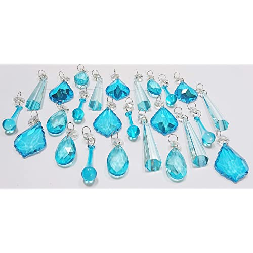 25 turquoise teal blue chandelier drops transparent chandelier drops parts cut glass crystals droplets beads christmas