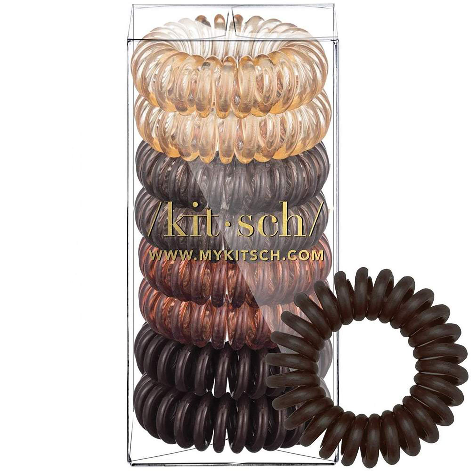 Kitsch Spiral Hair Ties, Coil Hair Ties, Phone Cord Hair Ties, Hair Coils – 8 Pcs, Brunette