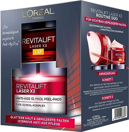 Set de cuidado facial L'Oréal Paris Revitalift Laser X3 Routine Duo, cuidado intensivo antiedad, mitiga las arrugas y proporciona una piel homogénea.