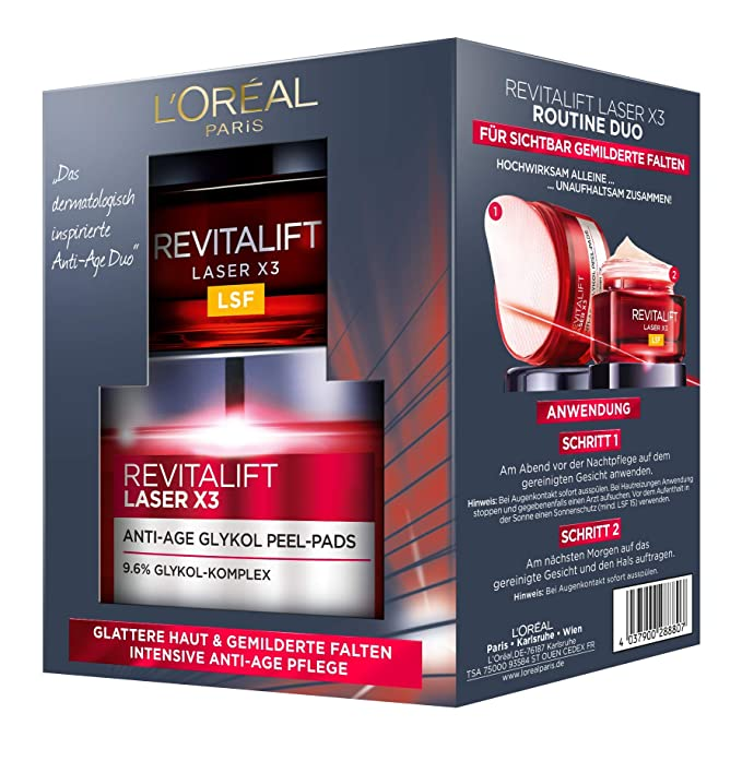 L Oréal Paris Cuidado Facial Juego revitalift Laser X3 rutina Duo Set de regalo, 20 ml