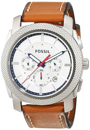 0d9ed51f36ae Fossil Machine - Reloj de Pulsera Hombre Cronógrafo Cuarzo Piel FS5063   Amazon.es  Relojes