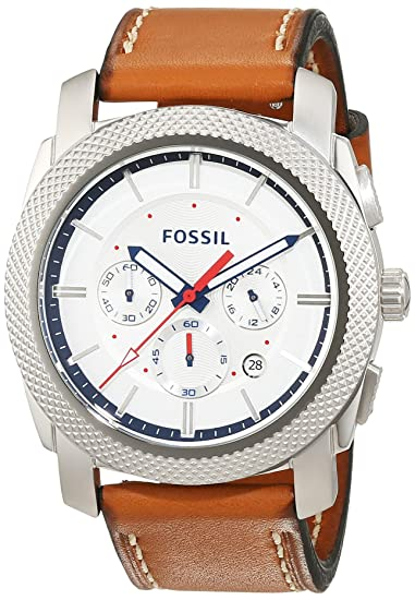 Fossil Machine - Reloj de Pulsera Hombre Cronógrafo Cuarzo Piel FS5063: Amazon.es: Relojes