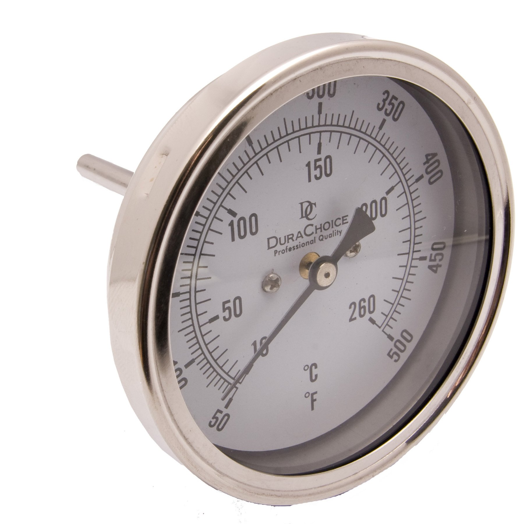 Industrial Bimetal Thermometer 5'' Face x 4'' Stem, 50-500 w/Calibration Dial
