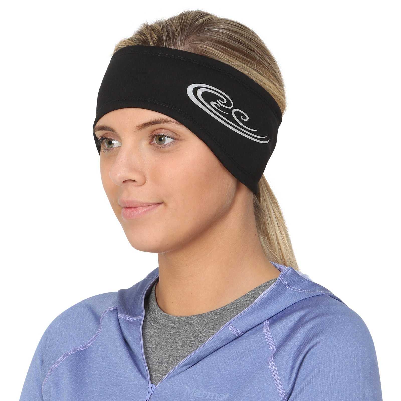 TrailHeads Women's Power Ponytail Headband - black / reflective silver
