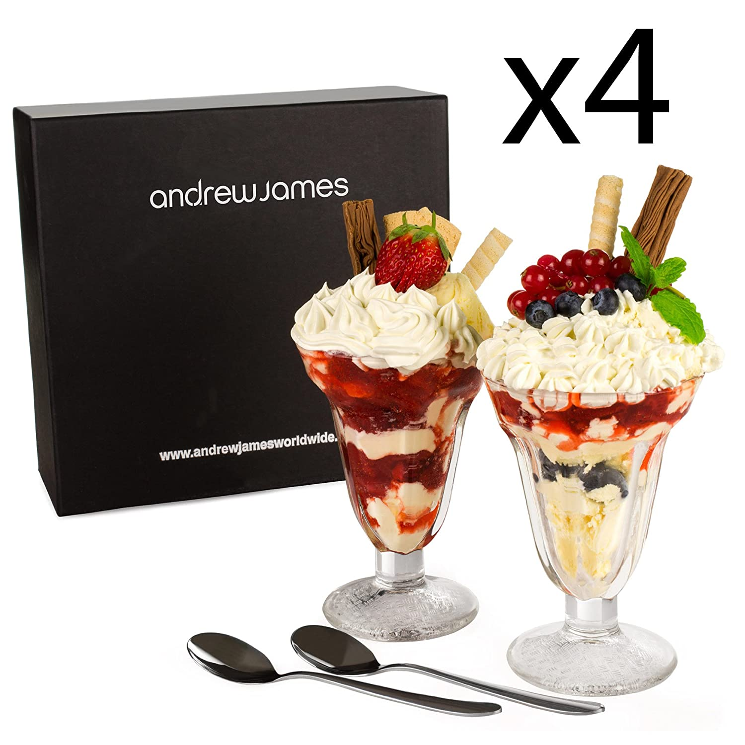Andrew James Sundae Glasses | Set of 2 Dessert Glasses for Ice Cream Knickerbocker Glory Trifle and other Puddings | Includes 2 Long Handled Spoons 5060146066600
