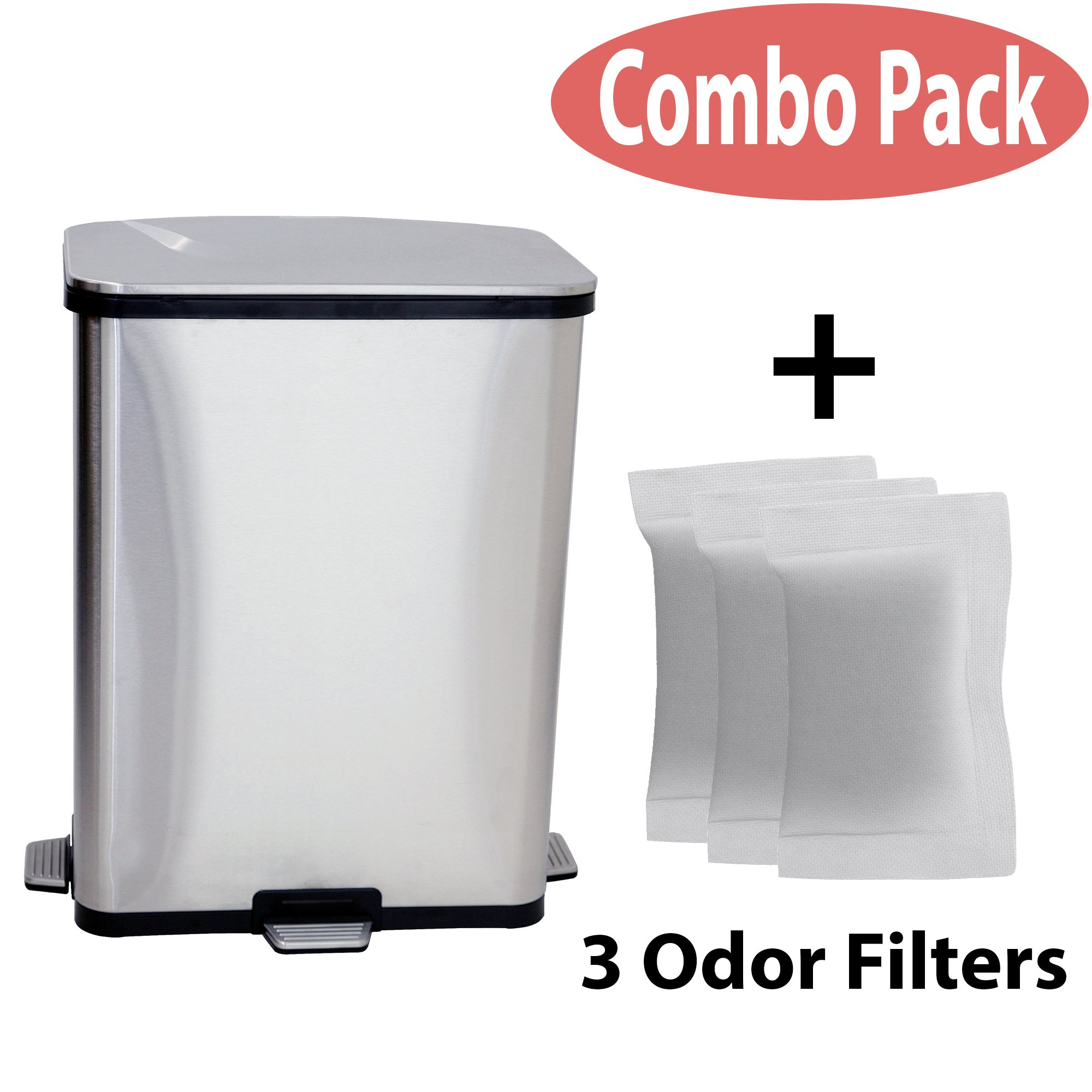 iTouchless Battery-Free 13 Gallon Step Sensor Stainless Steel Trash Can, Automatic Kitchen Trash Can includes Unique Sensor Pedals, AC Adapter and 3 Odor Filters