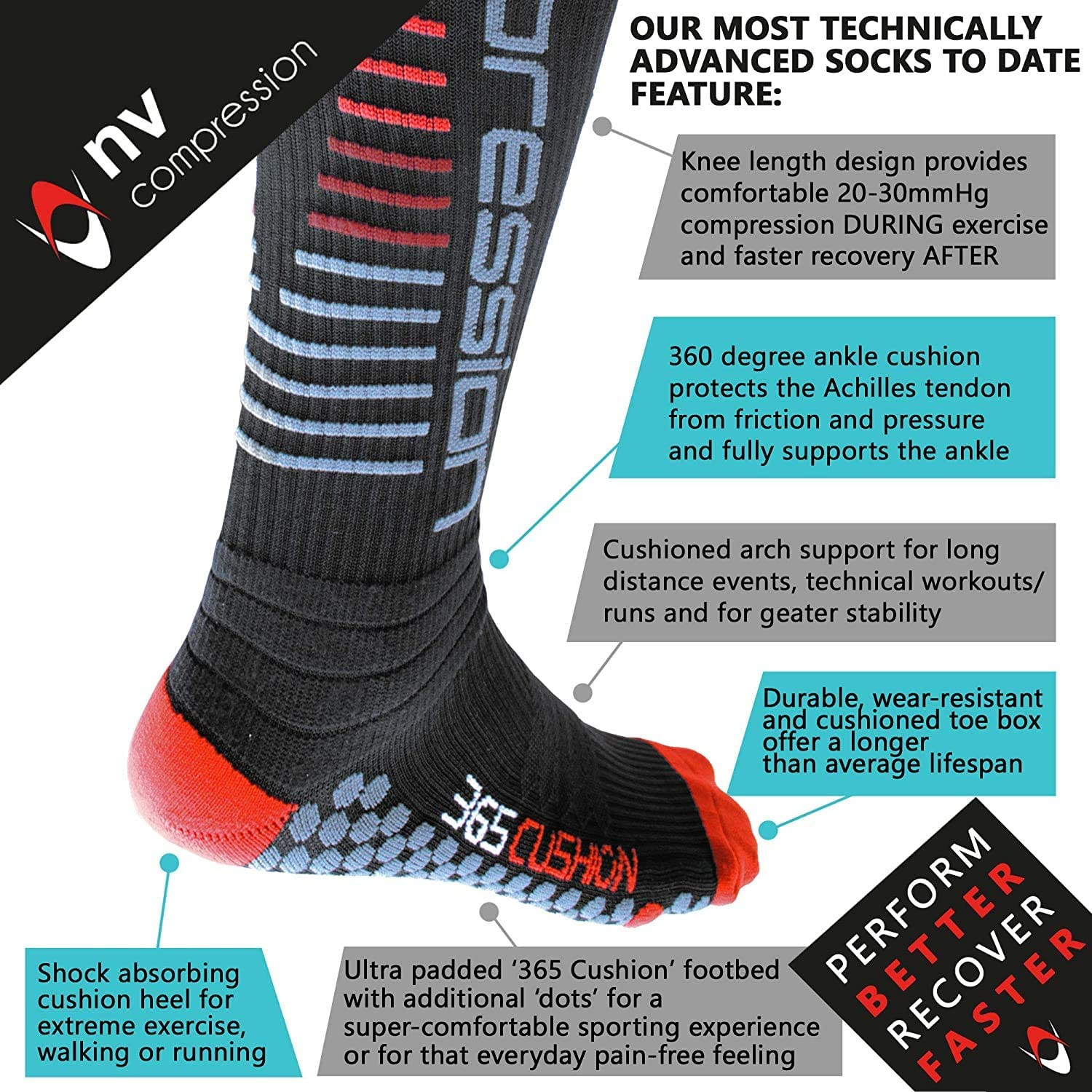 Work Flight Cycling NV Compression 365 Cushion Calze a Compressione Running Cushioned Compression Socks Soccer, Pair Nero 20-30mmHg for Sports Recovery