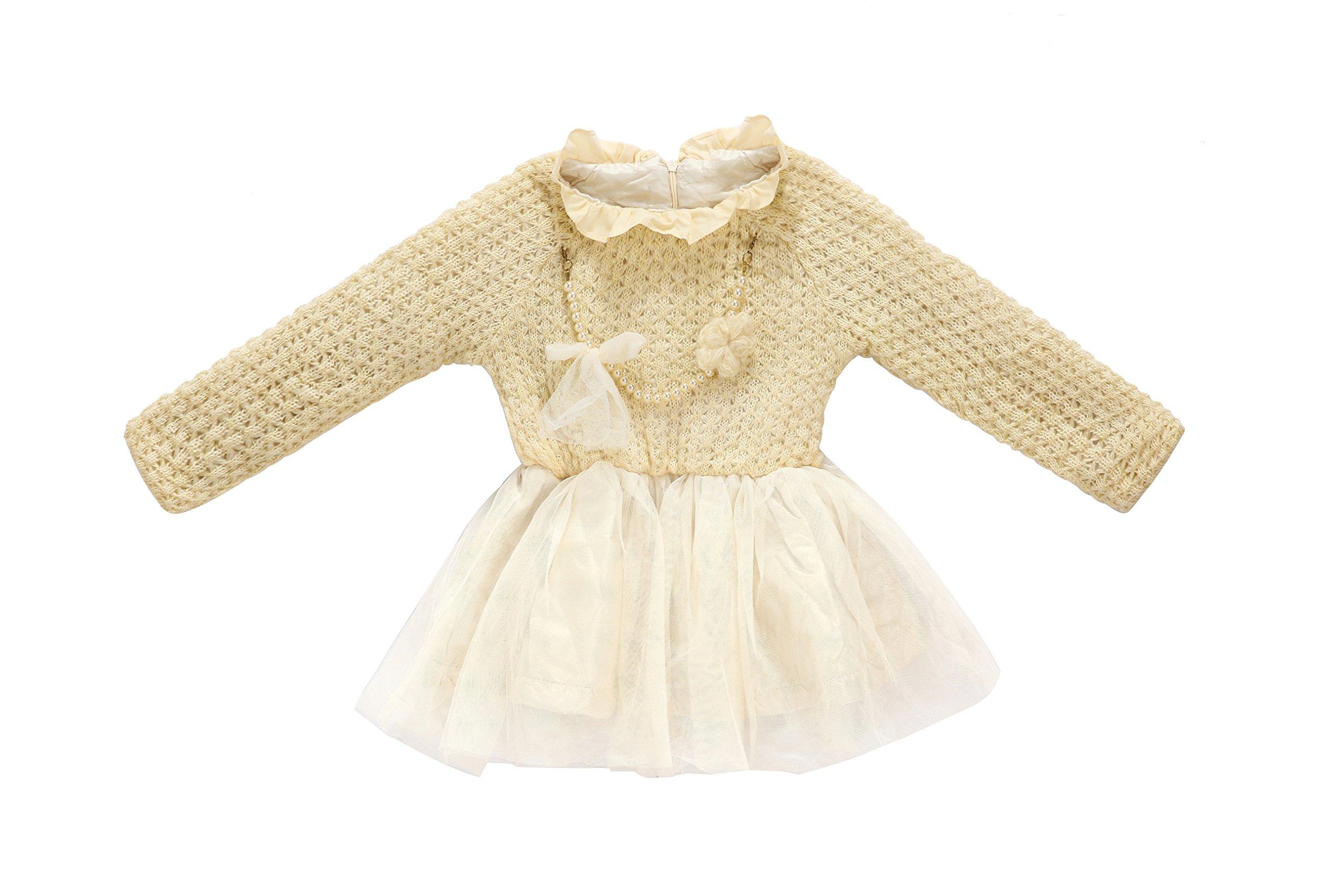 Beloved Lucia Girls Winter Dresses Beige 2/3
