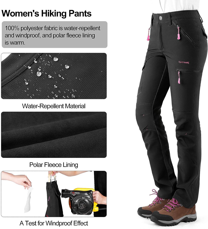 KUTOOK Pantaloni Escursionismo Donna Invernali Pantaloni Hiking Softshell Impermeabile da Arrampicata Trekking Sci Neve Outdoor