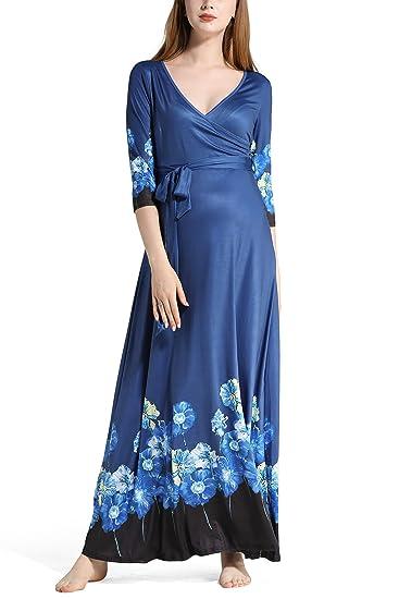 75e66950de02 Dance Fairy Molliya Maternity Dress V Neck 3 4 Sleeve Floral Prints Long Maxi  Dress
