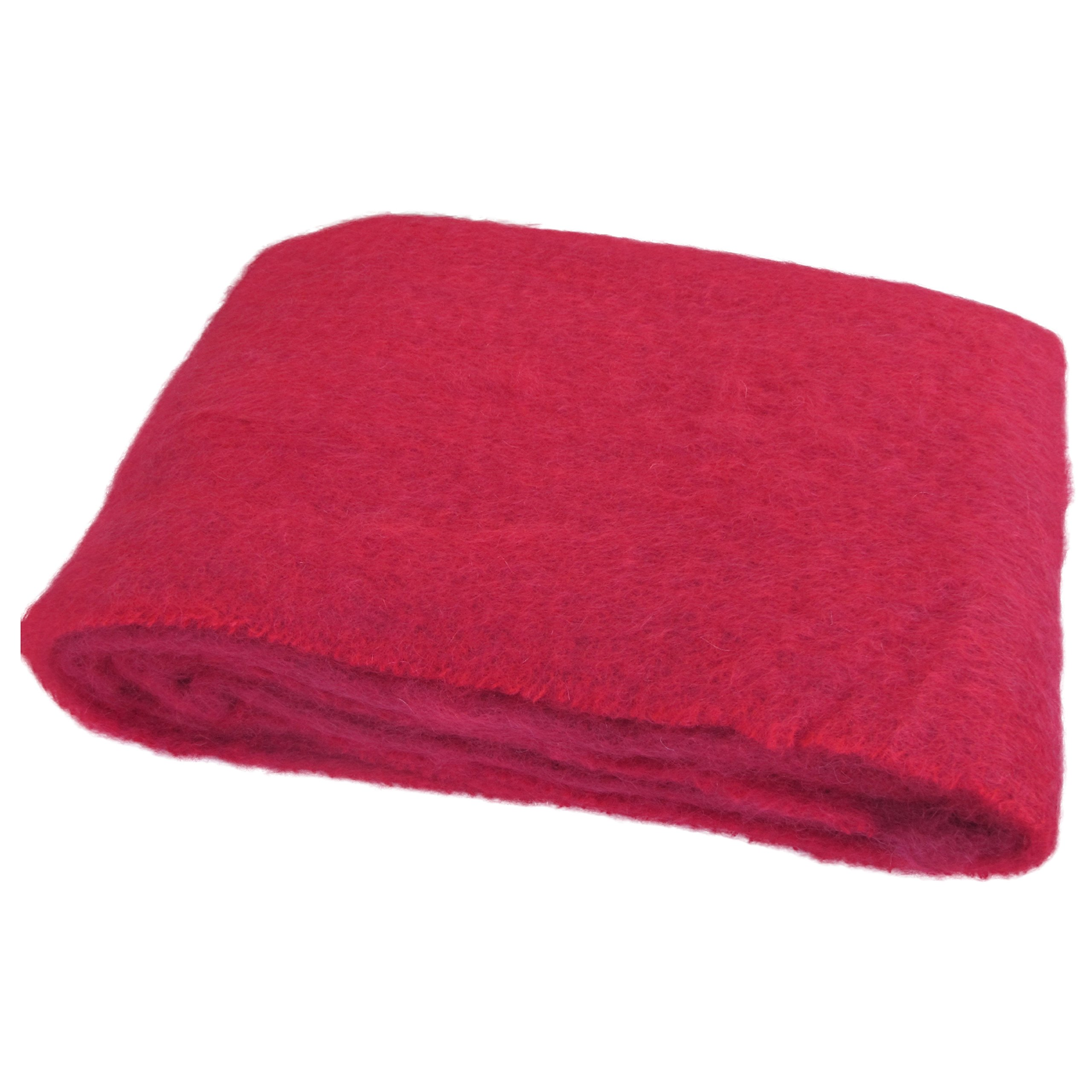 "Large Brushed Mohair Throw by Cushendale Woollen Mills Ireland. Super Soft Decorative Irish Wool Blanket 54""x 72"" (Red)"
