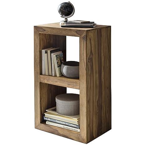 Wohnling Standregal Massivholz Sheesham 88 cm hoch 2 Böden Design  Holz-Regal Naturprodukt Beistelltisch Landhaus-Stil Wohnzimmer-Möbel Unikat  Echtholz ...