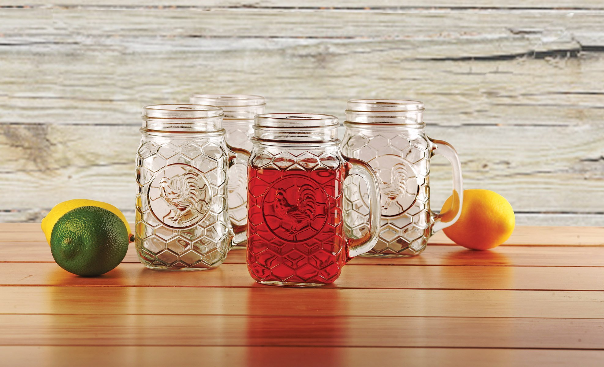 Circleware Rooster Glass Mason Jar Mugs, Set of 4, 17.5 oz., Clear
