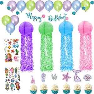 Mermaid Party Decorations Party Supplies, Jellyfish Paper Lanterns Little mermaid Birthday Decorations for Under the Sea Games/Garden Party Decorations,Happy Birthday Party Decoration Set for Girls