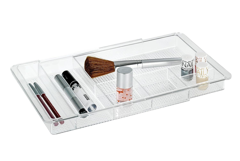 Wenko 22664100 Organiseur Maquillage Télescopique, Acrylique, 28,5-48,0 x 3 x 19,5 cm