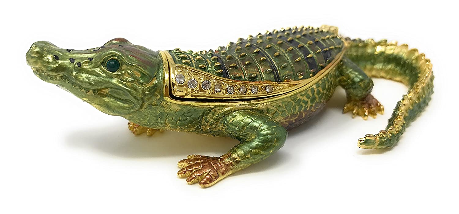 Kuala Crafts Enameled Green Alligator Trinket Box, Accented with Austrian Crystals