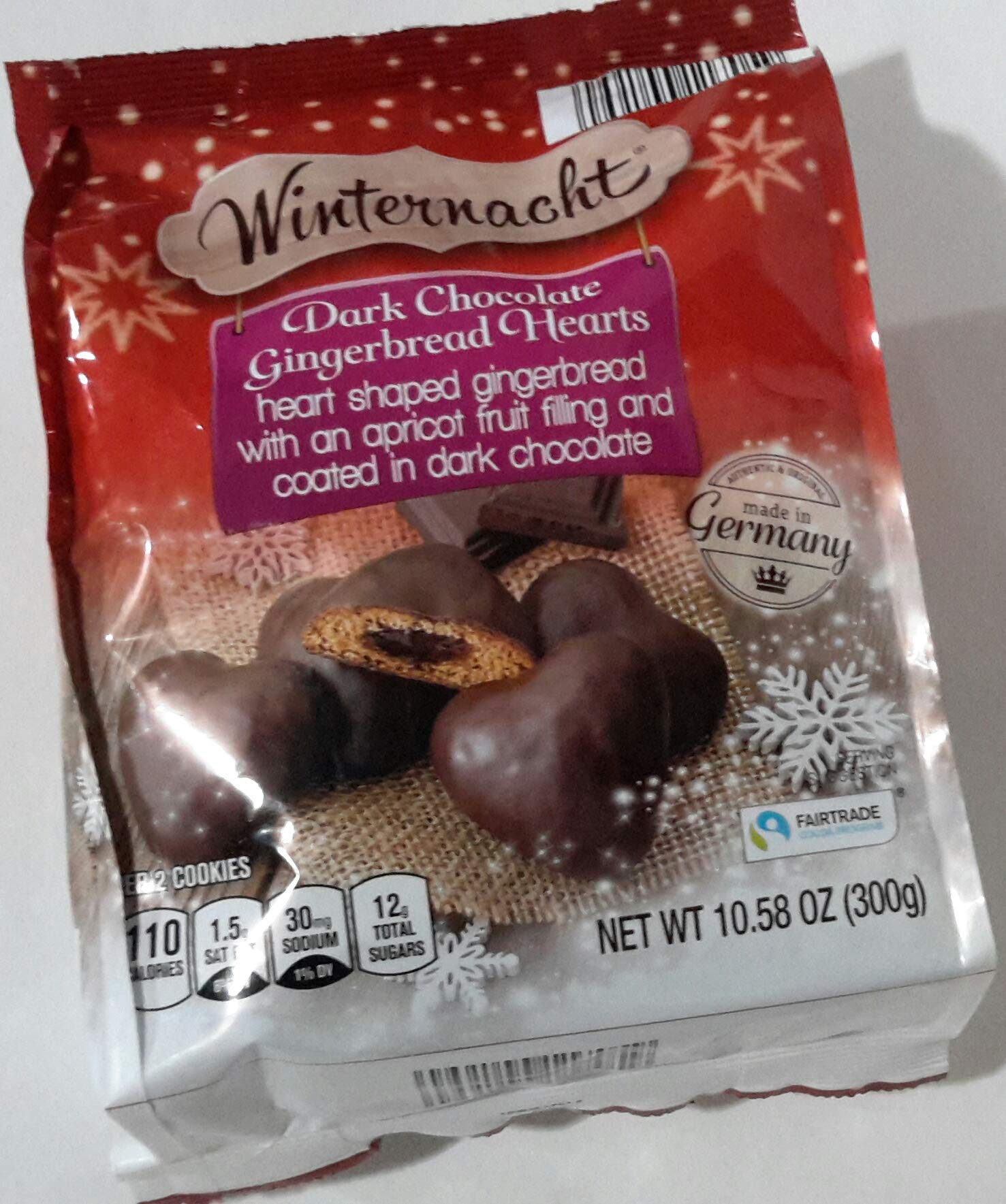 Winternacht Gefullte Herzen Zartbitter Traditional German Cookies Heart-shaped Soft Gingerbread Covered in Dark Chocolate with Apricot Fruit Filling