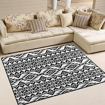 Amazoncom Alaza Black White Aztec Stylish Area Rug Rugs For Living