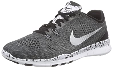 hot sale online d4146 08fef Nike Womens Free 5.0 TR FIT 5 PRT Black Metallic Silver White 704695 019