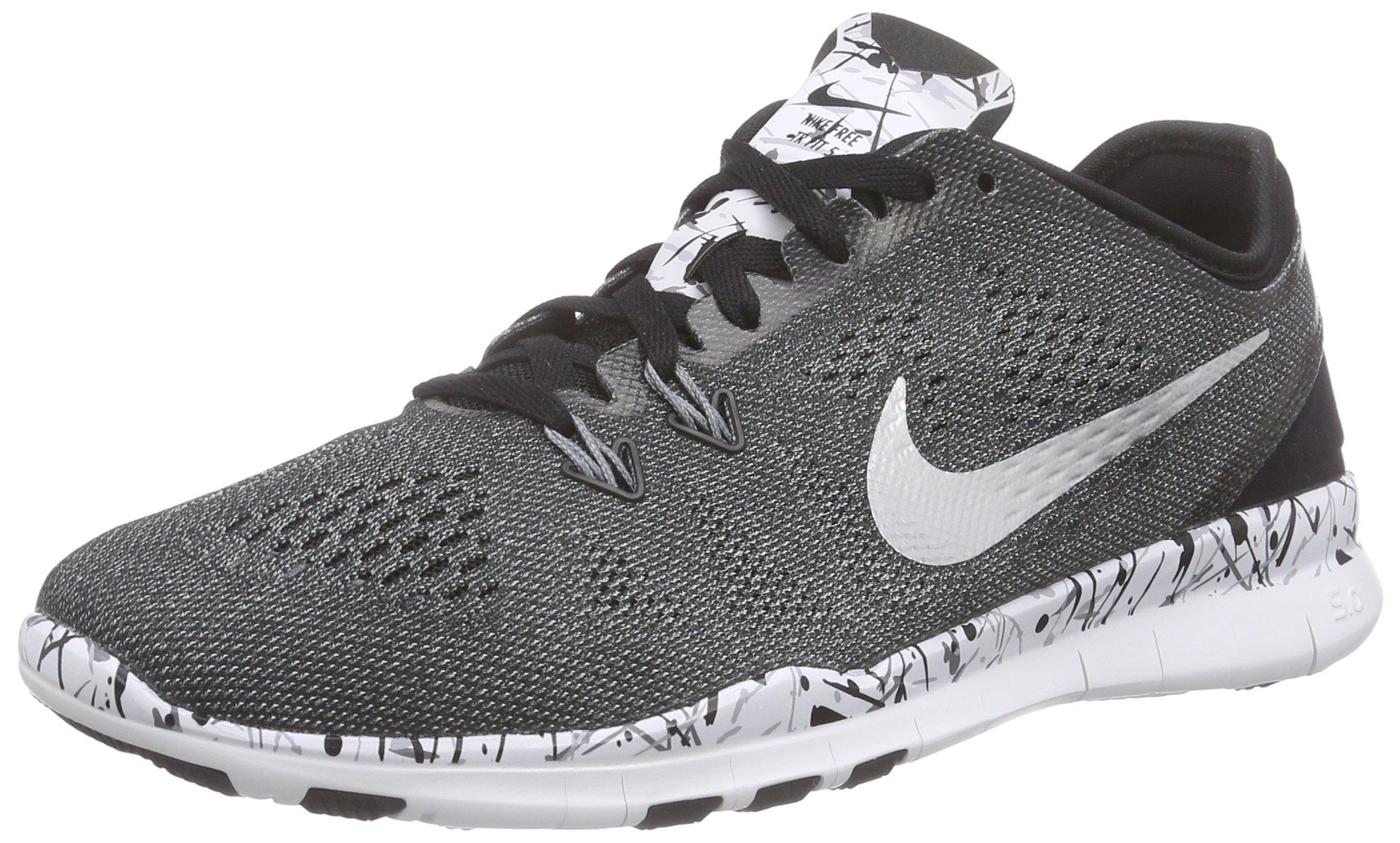 Nike Women's Free 5.0 TR Fit 5 Print Training Shoe Black/White/Grey/Metallic Silver Size 8 M US