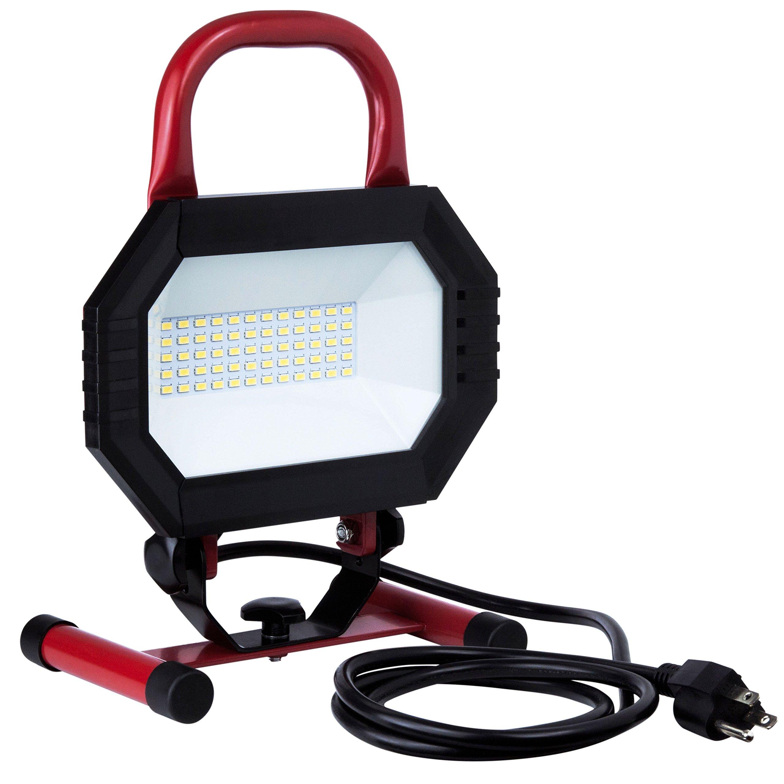 Sunlite LFX/WL/30W/W 04364 30W 120V Portable LED Work Light Fixture, Black/Red Finish