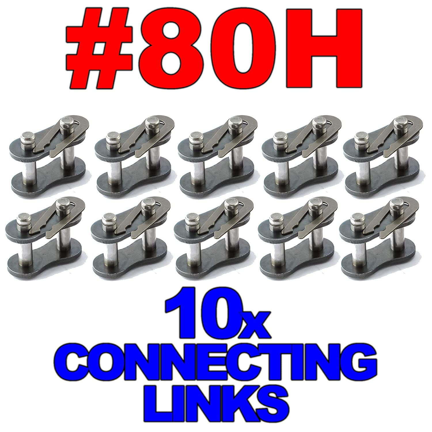 10 Pack #80H Heavy Duty Roller Chain Connecting Links