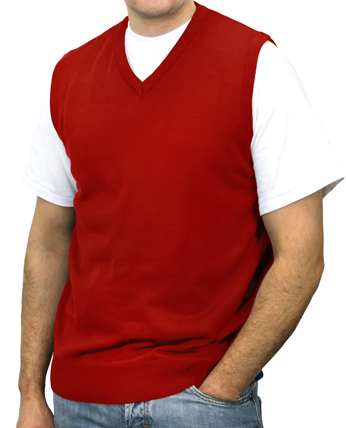 Blue Ocean Big Men Solid Color Sweater Vest at Amazon Men's ...