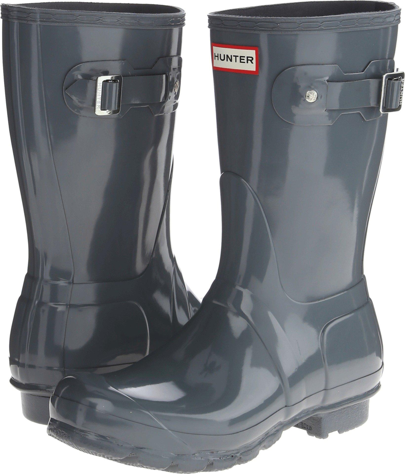Hunter Women's Original Short Gloss Rain Boots, Graphite Gloss, 5 B(M) US