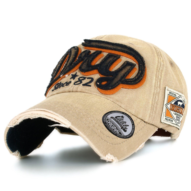 7ba01dc1d ililily Distressed Vintage Style Denim Dry Baseball Cap Pre-Curved ...